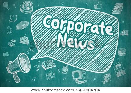 Corporate nieuws doodle illustratie Blauw schoolbord Stockfoto © tashatuvango