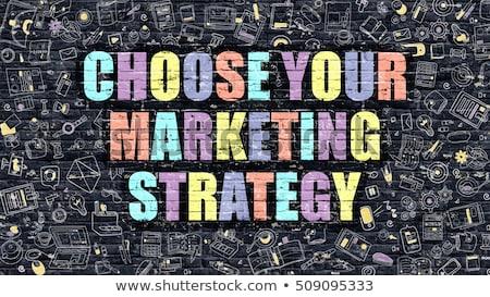 Scegliere strategia di marketing business megafono doodle Foto d'archivio © tashatuvango