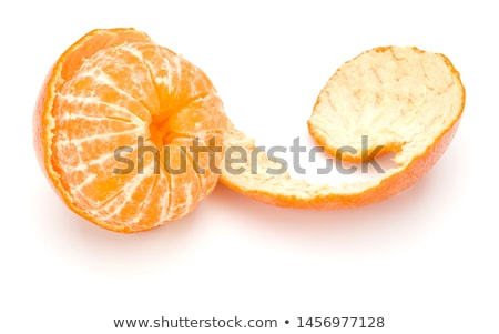 Stock photo: whole and peeled tangerines
