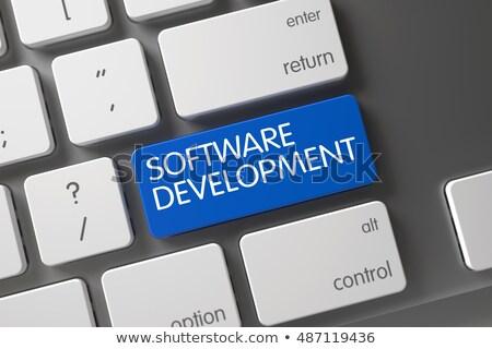 Azul software desarrollo teclado 3D Foto stock © tashatuvango