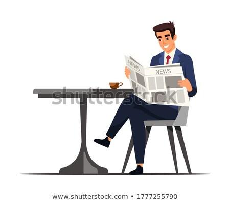 businessman drinking coffee and reading newspaper stock photo © rastudio