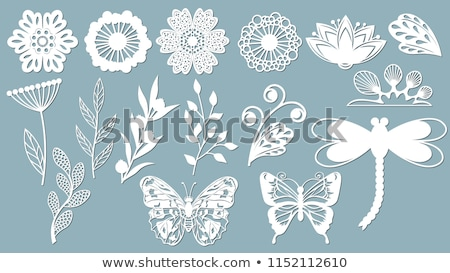 Sticker design with leaves and insects Stock photo © bluering