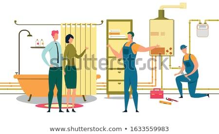 Loodgieter bad meisje reparatie onderhoud badkamers Stockfoto © popaukropa