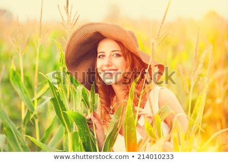 Kız mısır alan portre Avrupa fırıldak Stok fotoğraf © IS2