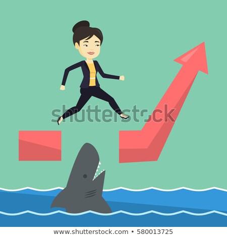 mulher · de · negócios · saltando · oceano · tubarão · jovem · arriscado - foto stock © rastudio
