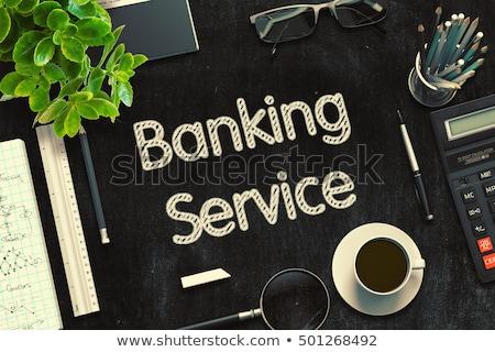 Bank átutalás fekete tábla 3D renderelt kép Stock fotó © tashatuvango