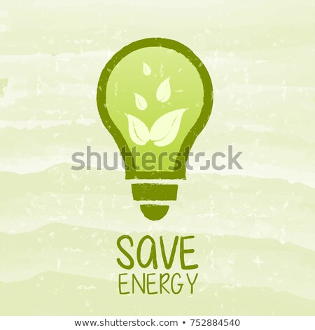 Save Energy And Bulb Symbol With Leaf Signs Over Green Grunge Ba Foto stock © marinini
