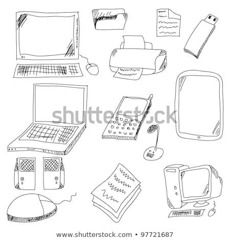 Gözlük bilgisayar monitörü kroki ikon vektör yalıtılmış Stok fotoğraf © RAStudio