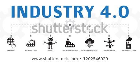 Automatizálás logisztika gomb karcsú alumínium billentyűzet Stock fotó © tashatuvango