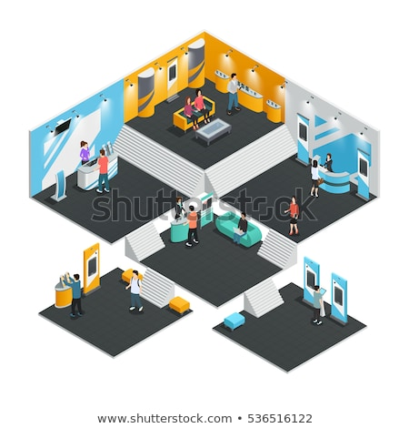Ad stand at exhibition isometric element stock photo © studioworkstock
