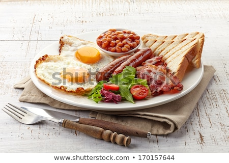 english breakfast with toast, bean and bacon Stock photo © M-studio