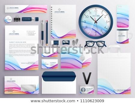 Stijlvol groot ingesteld business schrijfbehoeften telefoon Stockfoto © SArts