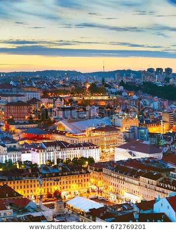 Lisbon Cityscape in Portugal at Twilight Stock photo © rognar