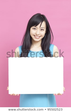 Girl Business Blank Board Peek Stock photo © lenm