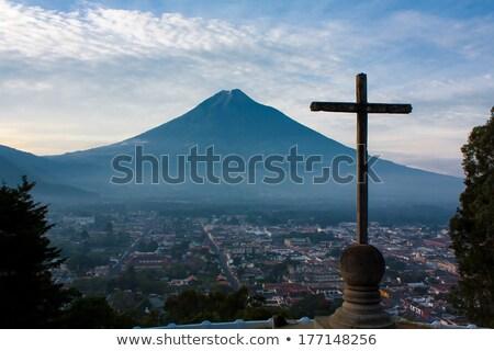 Volcano And Cross In Antigua Guatemala Stock photo © THP