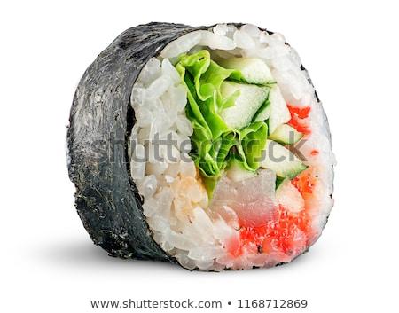 picante · sushi · alga · branco · prato · fundo - foto stock © cipariss