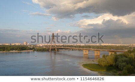 Pivnichnyi Bridge across the Dnieper in Kiev. Panoramic view fro the drone Stock photo © artjazz