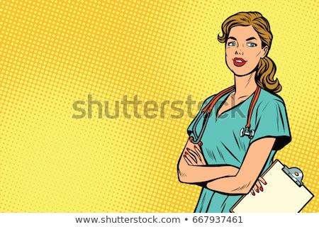 Поп-арт медсестры медицина здоровья ретро Vintage Сток-фото © studiostoks