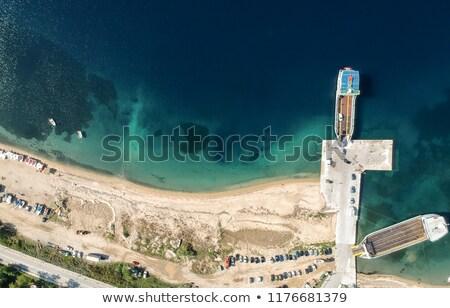 légifelvétel · kikötő · Görögország · tenger · csónak · madarak - stock fotó © boggy