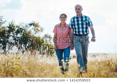 Senior couple walking over meadow holding each others hands Stock photo © Kzenon