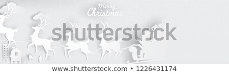 Empty christmas banner with paper cut santa claus Stock photo © cienpies