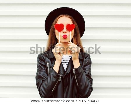 Foto stock: Belo · mulher · jovem · batom · vermelho · beleza · compensar · pessoas