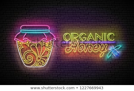 Vintage Glow Poster with Jar of Organic Honey and Inscription Stock photo © lissantee