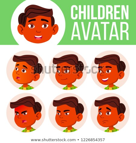 Boy Avatar Set Kid Vector. Indian, Hindu. Asian. Primary School. Face Emotions. Children. Beauty, Li Stock photo © pikepicture