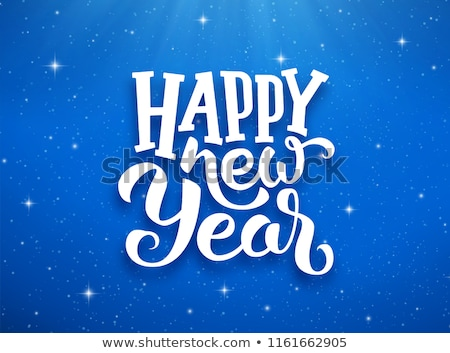 2019 happy new year illustration with 3d typography lettering and falling confetti on yellow backgro stock photo © articular