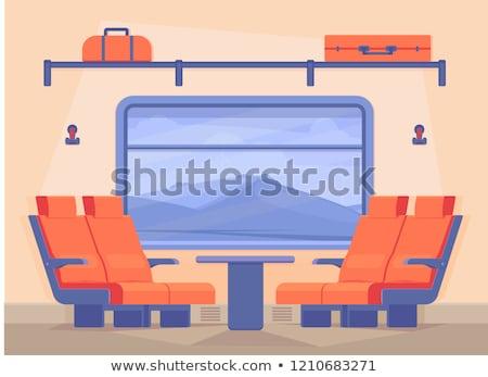 Train compartiment à l'intérieur vue vecteur paysage Photo stock © konturvid