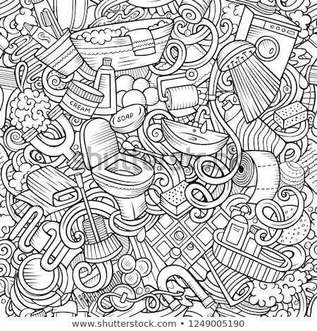 Bathroom hand drawn cartoon doodles seamless pattern. Stock photo © balabolka