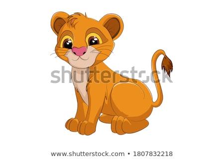 Cartoon leone re illustrazione corona cat Foto d'archivio © cthoman
