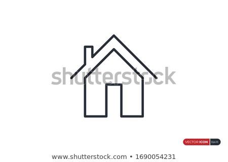 Huis dak schoorsteen icon vector symbool Stockfoto © blaskorizov
