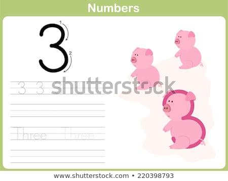 Number three tracing alphabet worksheets Stock photo © colematt