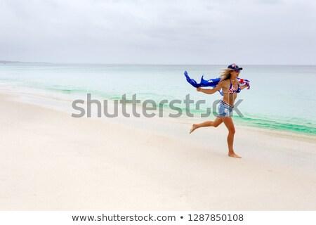 Foto stock: Mulher · movimento · praia · australiano · bandeira