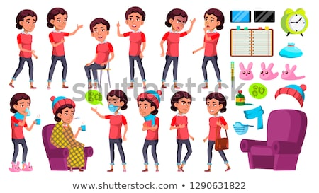 Asian Girl Kid Poses Set Vector. School Child. Sick, Cough. Runy Nose. Health. For Presentation, Pri Stock photo © pikepicture