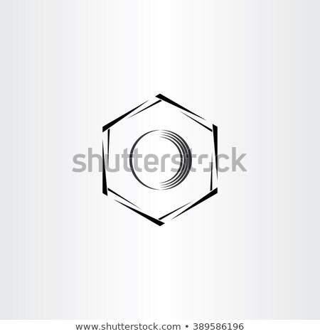 mechanics hex nut vector icon stylized logo Stock photo © blaskorizov
