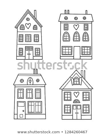 Stock fotó: Otthon · oldal · kézzel · rajzolt · skicc · firka · ikon