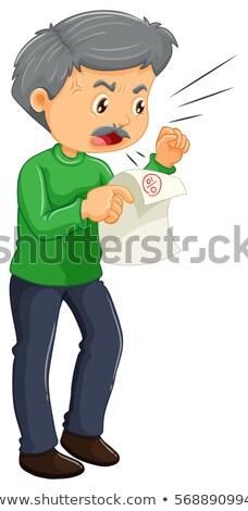Vater böse niedrig Punktzahl Illustration Papier Stock foto © colematt
