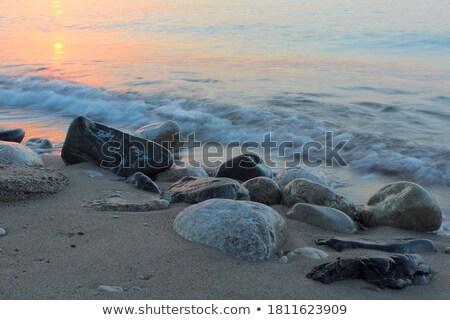 Incoming waves wash over rocks at sunrise Stock photo © lovleah