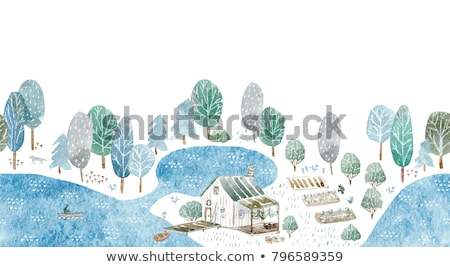 Stock fotó: Gomba · otthon · tó · illusztráció · ház · fa