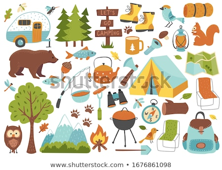 vector set of tent foto stock © olllikeballoon