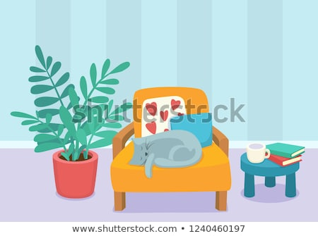 Cat sleeping in a chair Vector. Cartoon style room decorations Stock photo © frimufilms