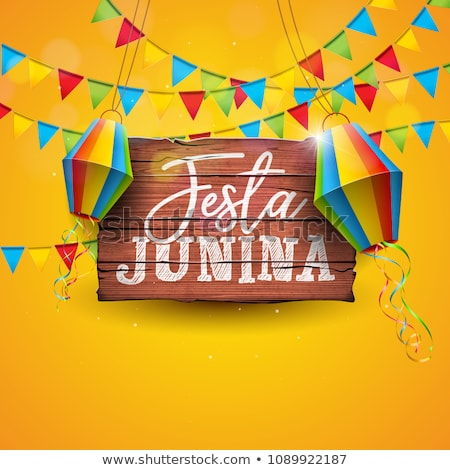 Festa Junina Card Of Colorful Carnival Flags Foto stock © articular