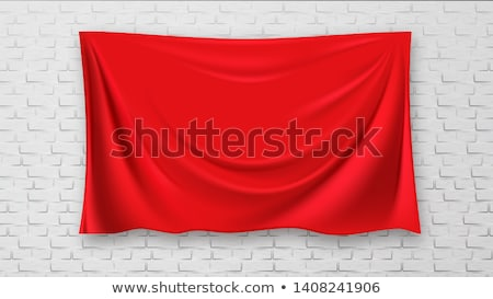 Stockfoto: Covered Picture On Brick Red Canvas Wall Background Vector