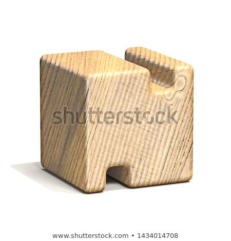 Solido legno cubo carattere 3D Foto d'archivio © djmilic