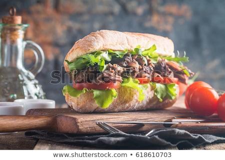 alface · salada · tomates · cereja · madeira · vermelho · cinza - foto stock © melnyk