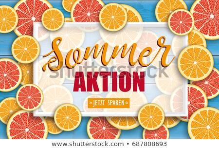 Summer Sale Blue Wood Grapefruit Orange Fruits Header Stock photo © limbi007