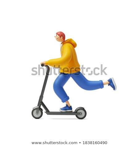 3D weiße Menschen Mann Reiten elektrische Mietbetrag Stock foto © texelart