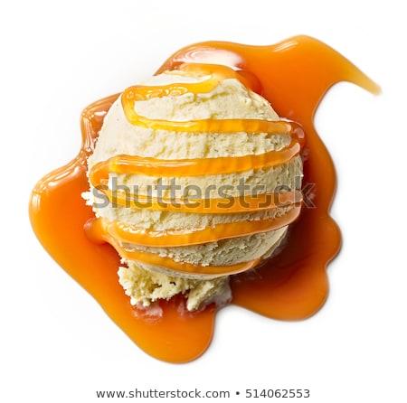 Wanilia lody karmel sos pojemnik drewna Zdjęcia stock © StephanieFrey